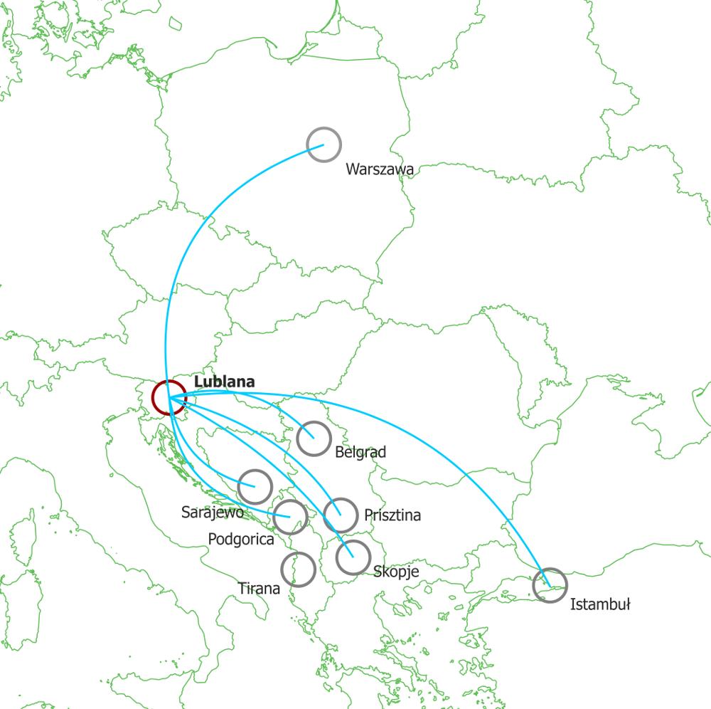 Mapa połączeń lotniczych Adria Airways