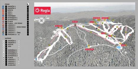 Mapa tras narciarskich Rogla Słowenia