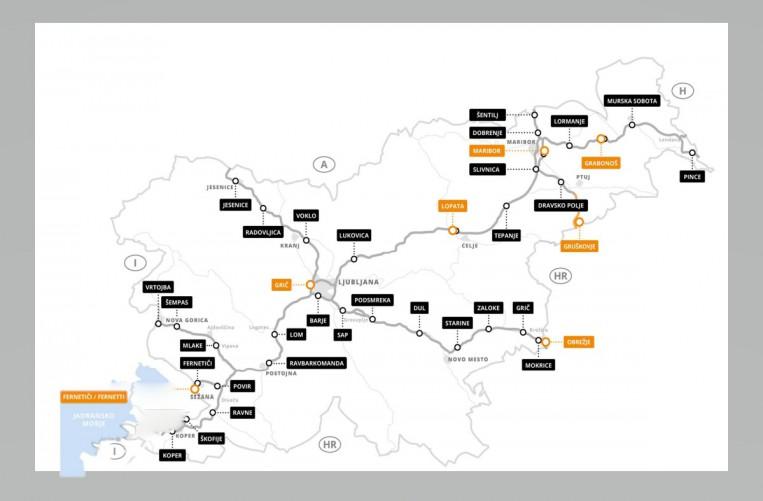 Winiety Słowenia - Mapa serwisów systemu DarsGo: