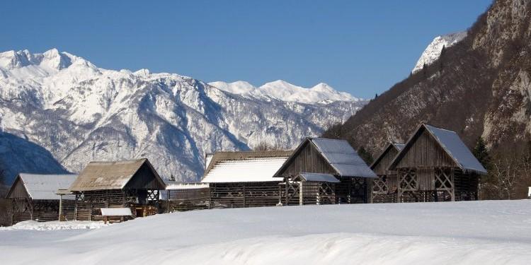 Zima w słoweńskich górach - Bohinj
